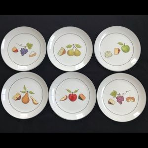SET OF CRATE&BARREL FRUIT FROMAGE COCKTAIL PLATES